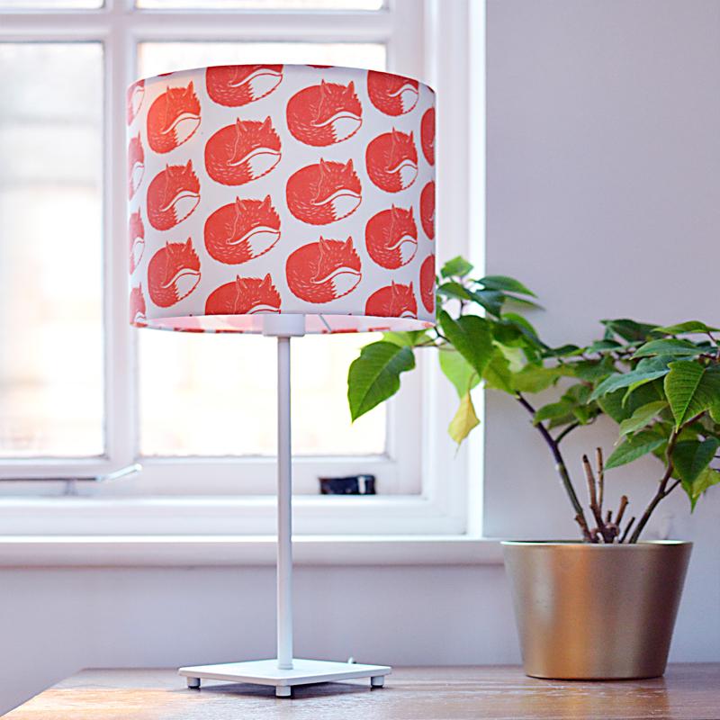 Fox lampshade, screen printed lampshade, handmade lampshade, the owlery,
