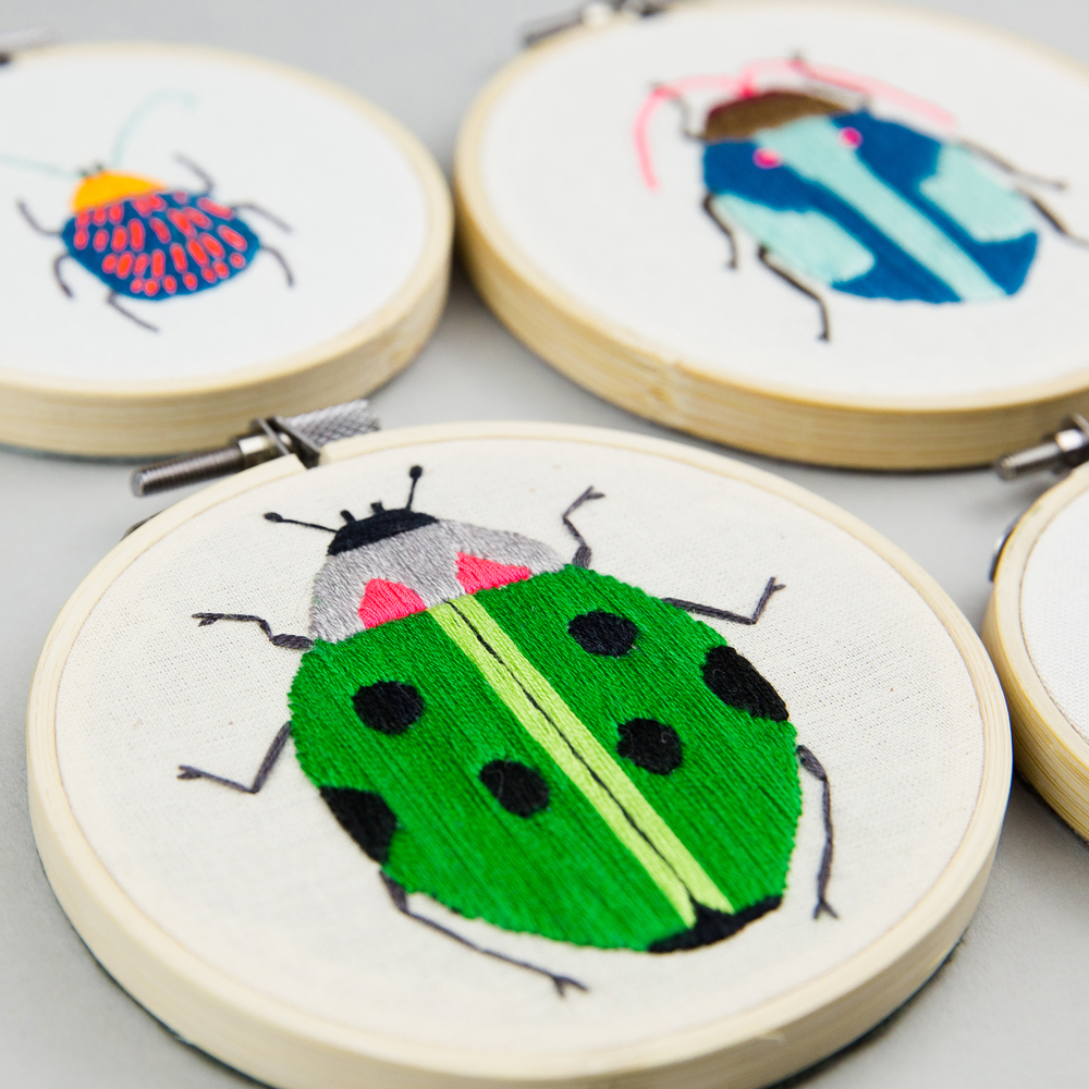 ladybird embroidery hoop, insect embroidery hoops, MaggieMagoo Designs, Maggie Magoo, interview, designer, meet the maker, Carole Fenwick,
