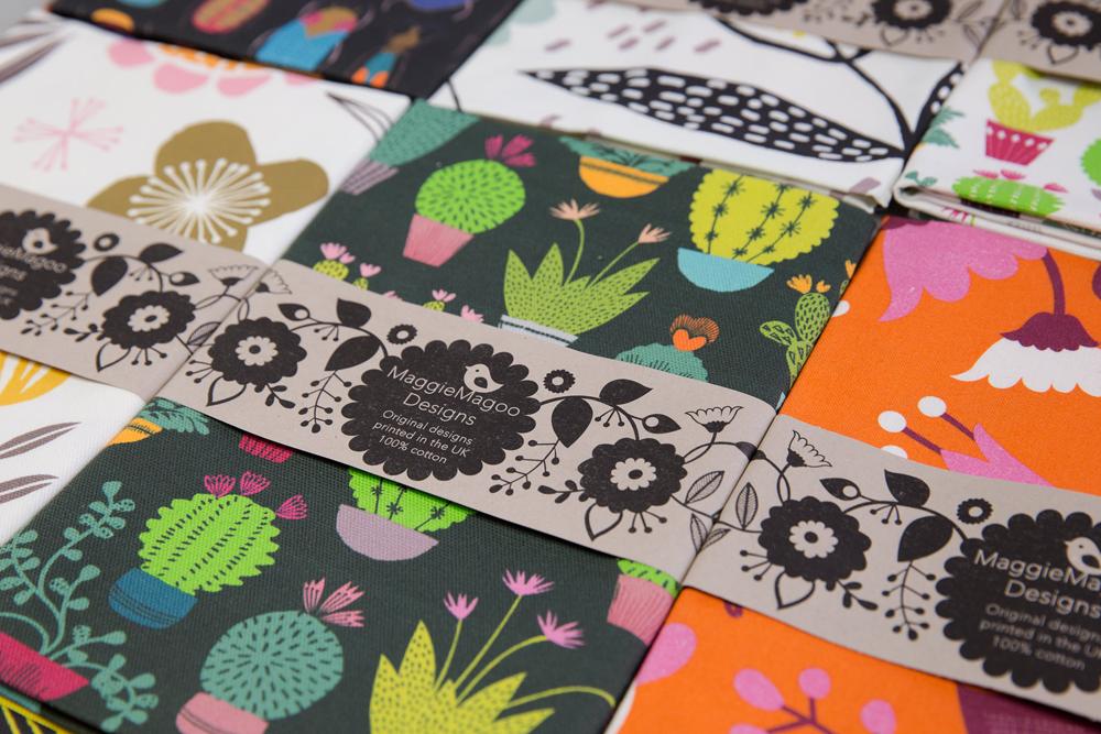 Cactus tea towels, colourful tea towels, fun tea towels, maggie magoo notebook, MaggieMagoo Designs, Maggie Magoo, British designer, meet the maker interview, print and pattern,