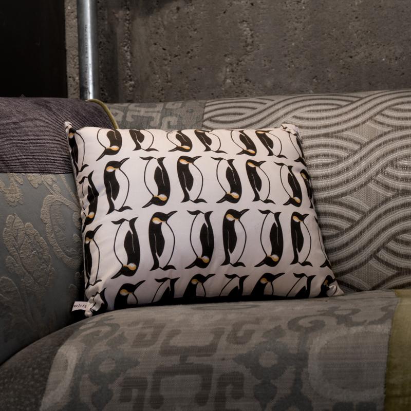 penguin cushion, screen printed penguin cushion, the owlery,