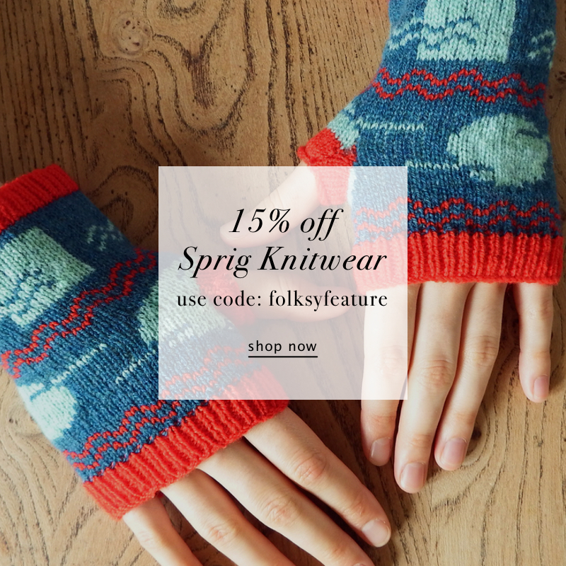 Sprig Knitwear, knitted fingerless gloves, knitted mittens, offer, promotion, discount code,