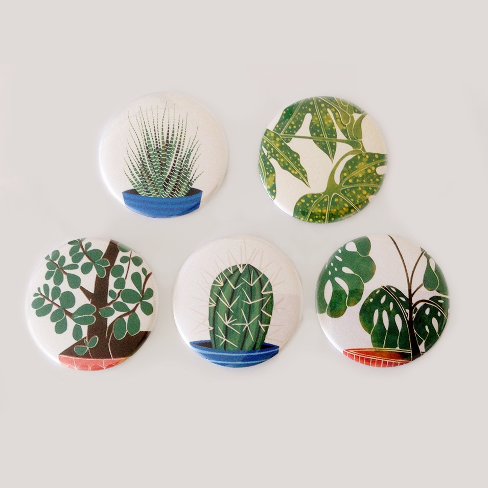 houseplant pins, houseplant badges, cactus pins, cactus badges, kerry day,