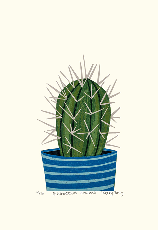 Kerry Day, Kerry Day printmaker, cactus print, cactus art, cactus art print, lino print,