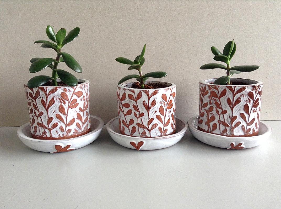 succulent planter, ceramic succulent planter, hand printed succulent planter, Kerry Day,