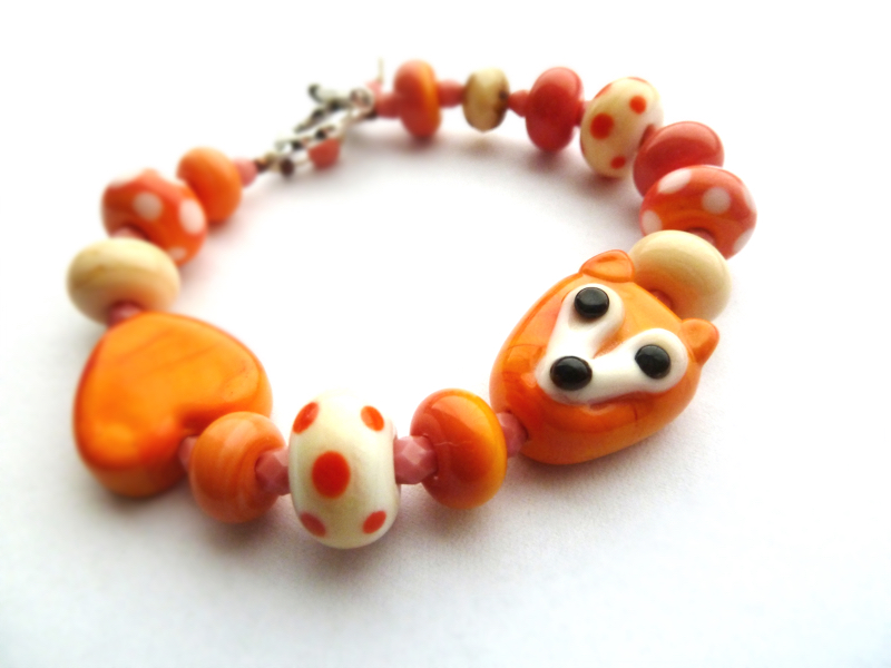 Fox bracelet, fox bead bracelet, Lampwork beads by Jo,