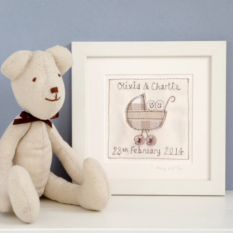 Milly and Pip, Milly and Pip personalised framed embroidery, newborn baby gift,