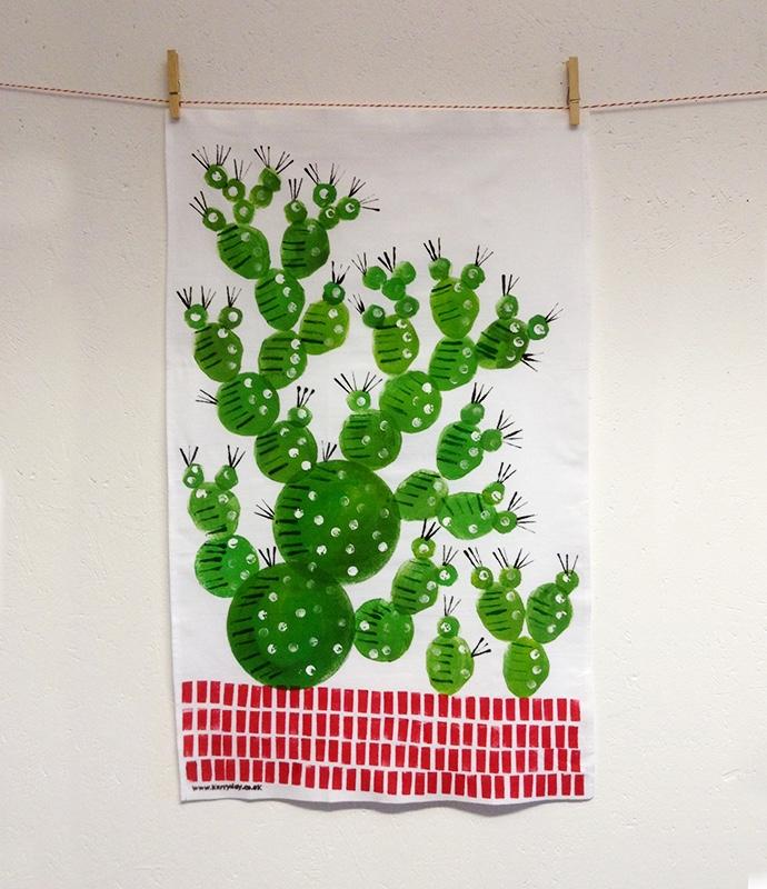 prickly pear tea towel, cactus tea towel,