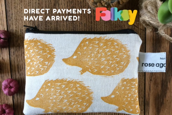 direct payments, Folksy, Stripe, hedgehog purse,