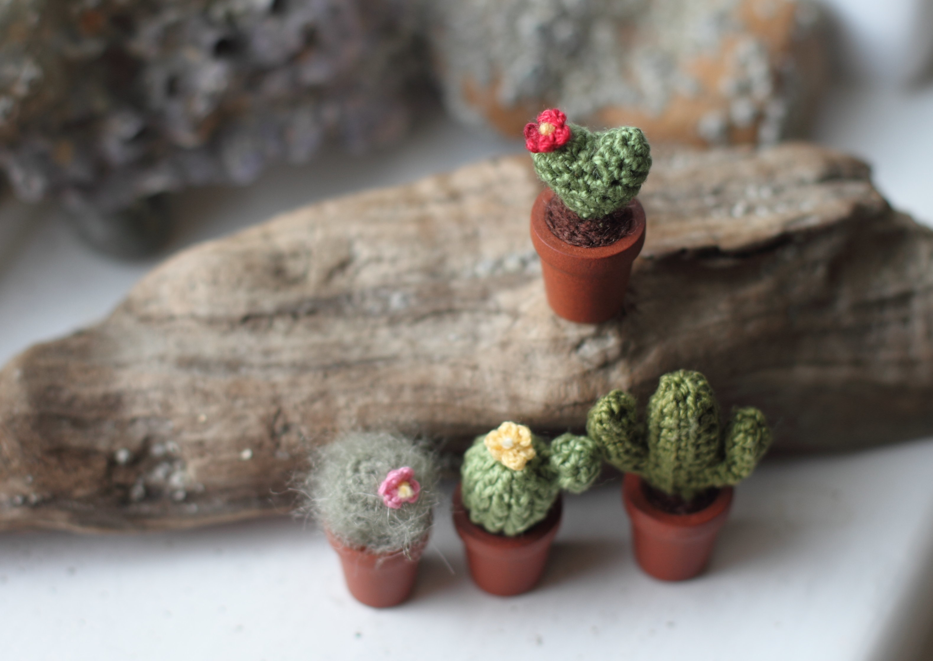 fancy knittles, fancyknittles, miniature crochet, tiny crochet, crochet cactus, crochet cactus decoration,