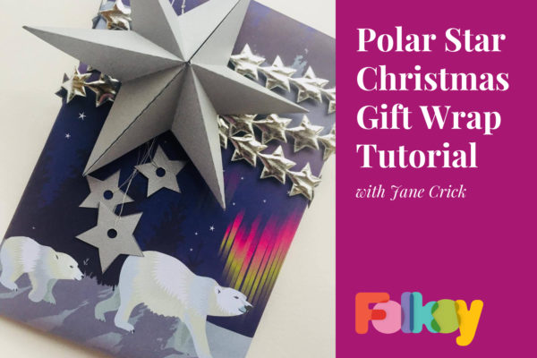 polar bear wrapping paper, polar bear gift wrap, jane crick, wrapping tutorial