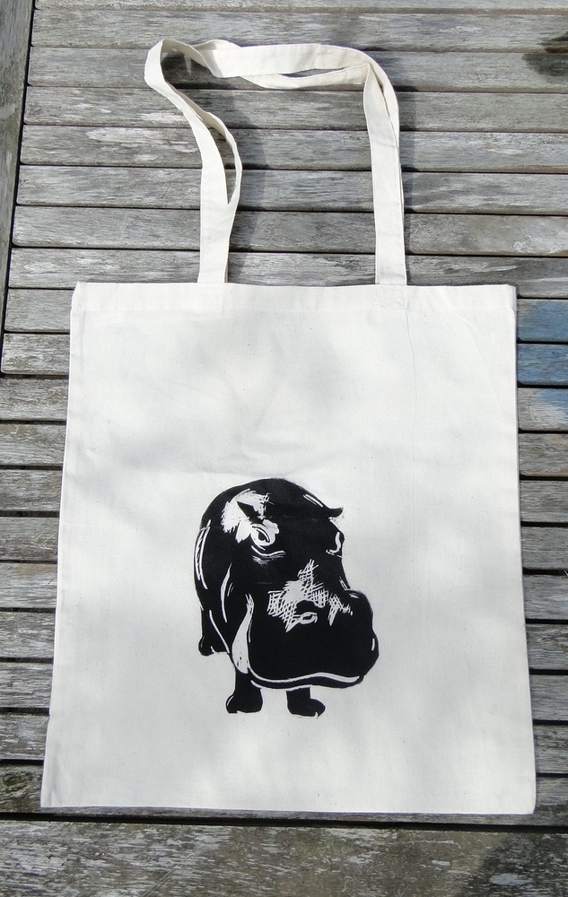 best stocking fillers, handmade stocking fillers, animal themed christmas presents, animal themed stocking fillers, animal stocking fillers, Hippo Tote Bag, lino tote bag,