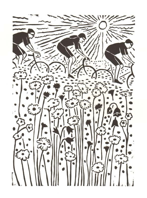gifts for cyclists, bike lino print, bicycle lino print, cyclists lino print, denise burden