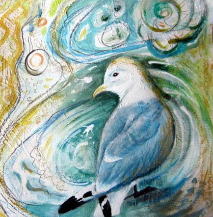 bee skelton, seagull painting, Kittiwake Gull painting, Gifts for Bird Lovers, Gifts for bird lovers uk, gift for bird lovers,