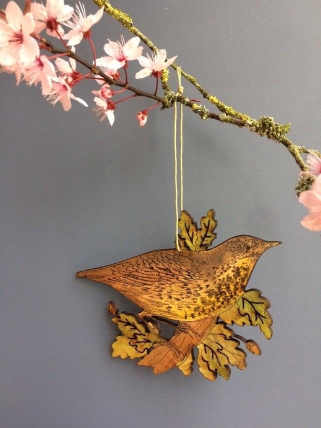 wooden thrush decoration, wren decoration, Gifts for Bird Lovers, Gifts for bird lovers uk, gift for bird lovers,