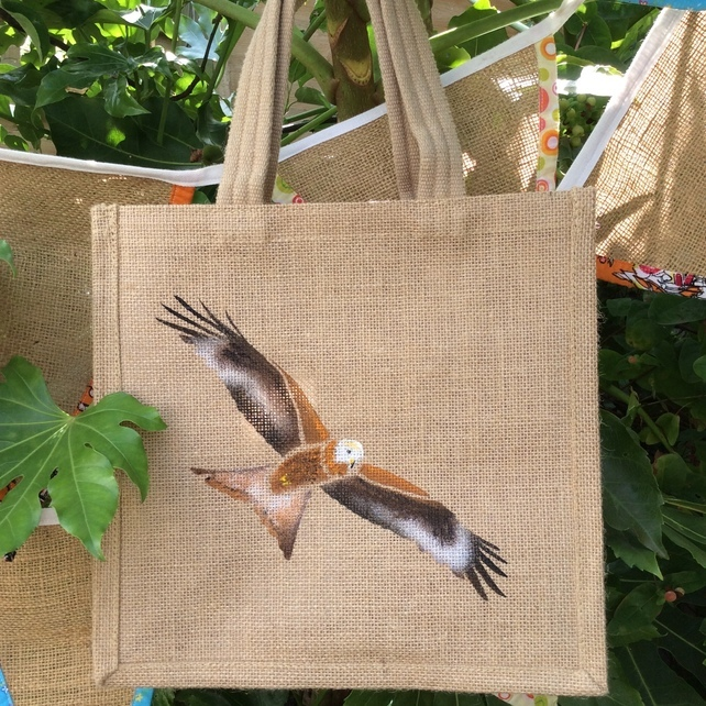 red kite jute bag, red kite shopping bag, Hessian owl shopping bag, Gifts for Bird Lovers, Gifts for bird lovers uk, gift for bird lovers,
