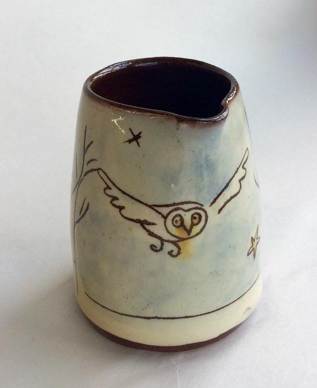 owl creamer, Owl vase, ceramic owl jug, Gifts for Bird Lovers, Gifts for bird lovers uk, gift for bird lovers,
