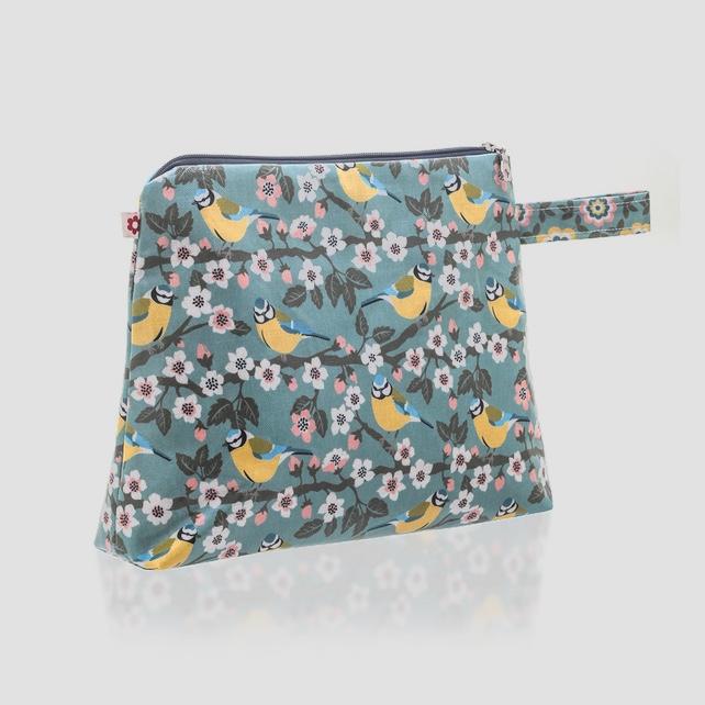 Blue Tit washbag, bird make up bag, susie Faulks, Gifts for Bird Lovers, Gifts for bird lovers uk, gift for bird lovers,