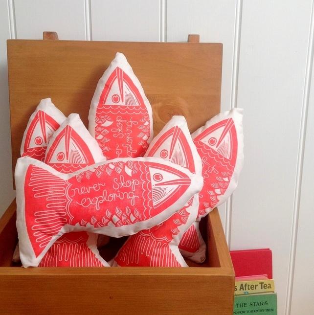 Block printed fish cushion, hannah madden, Christmas stocking ideas,