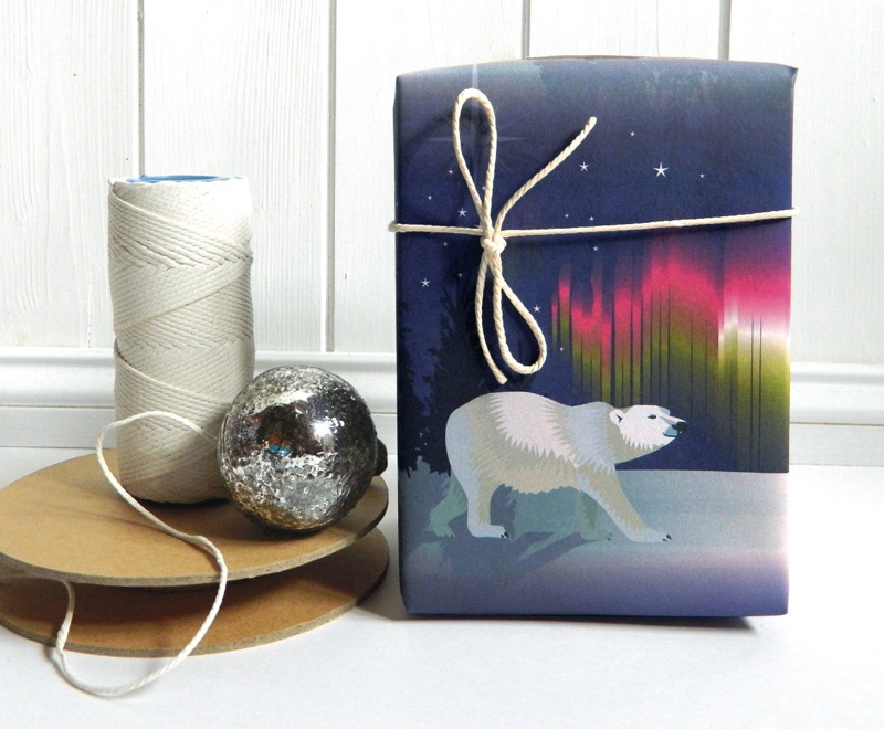 polar bear wrapping paper, polar bear gift wrap, jane crick, wrapping tutorial