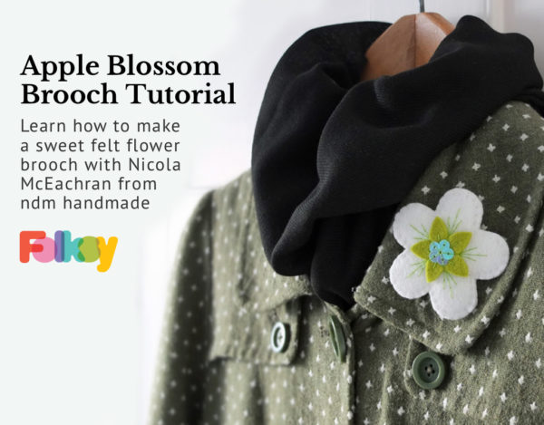 felt brooch tutorial, apple blossom brooch tutorial, ndm handmade,