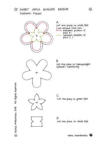felt brooch tutorial, apple blossom brooch tutorial, ndm handmade, printable,