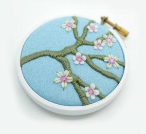 cherry blossom embroidery hoop art, ndm handmade, ndmhandmade, embroidery hoop art, embroidery artist, textile art, textile artist
