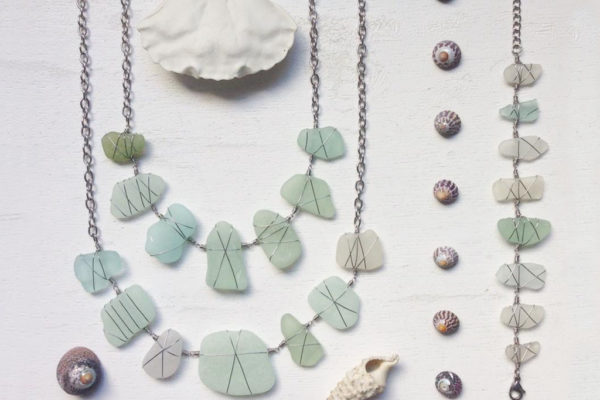 sea glass jewellery, found object jewellery, beach pottery jewellery, sea pottery jewellery, beach shack project, sea glass necklace,