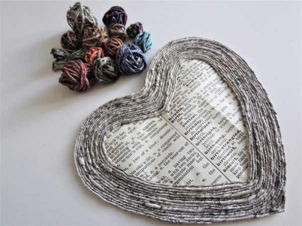 newspaper yarn, newspaper art, craft as therapy, good news from bad,