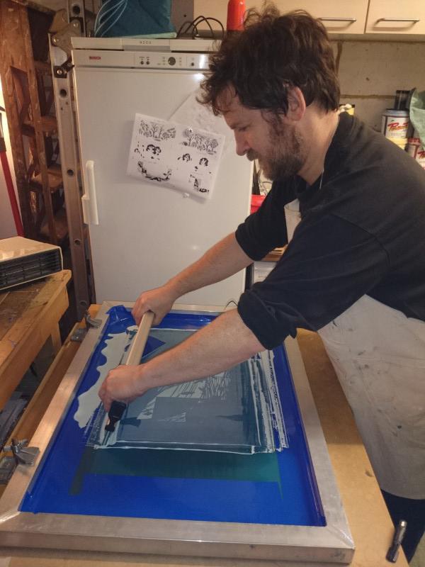 John Bloor, printmaker, British printmaker, linocut, screenprints, linocut prints, Cornwall prints, original prints, hand-printed homeware, hand printed lampshade,