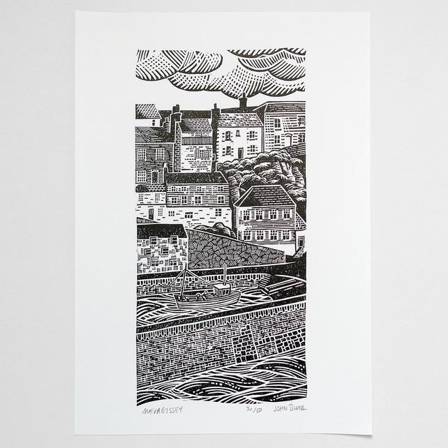 Mevagissey lino print Mevagissey art print, Mevagissey Cornwall, John Bloor, printmaker, British printmaker, linocut, screenprints, linocut prints, Cornwall prints, original prints,