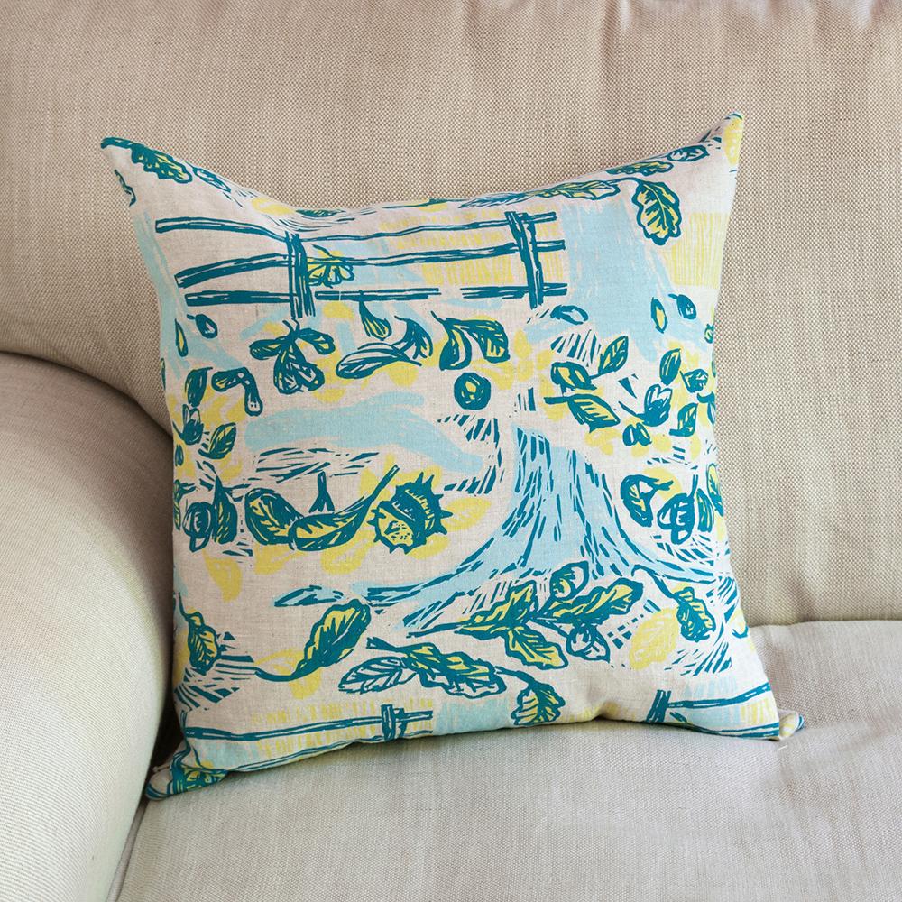 hand-printed cushion, screen printed cushion, hedgerow cushion, john bloor,