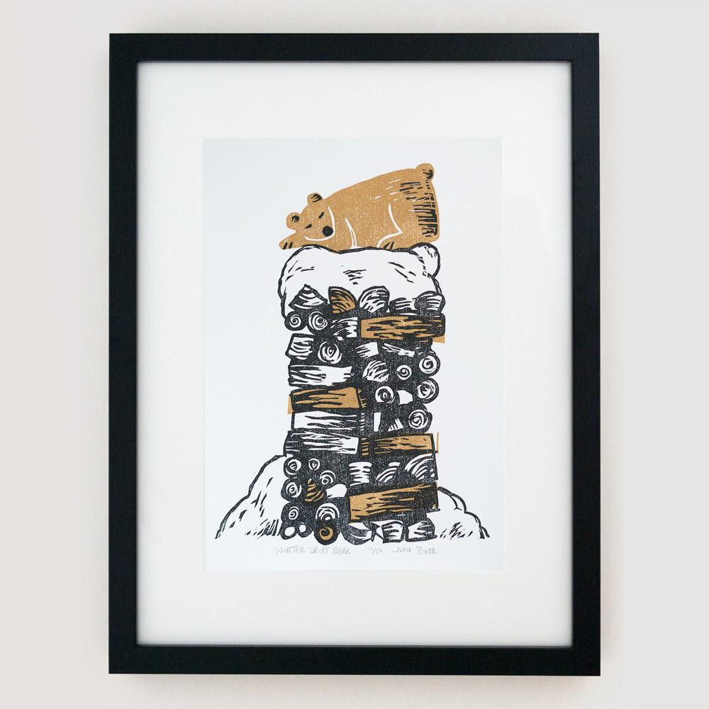 sleeping bear art print, John Bloor, printmaker, British printmaker, linocut, screenprints, linocut prints, Cornwall prints, original prints,