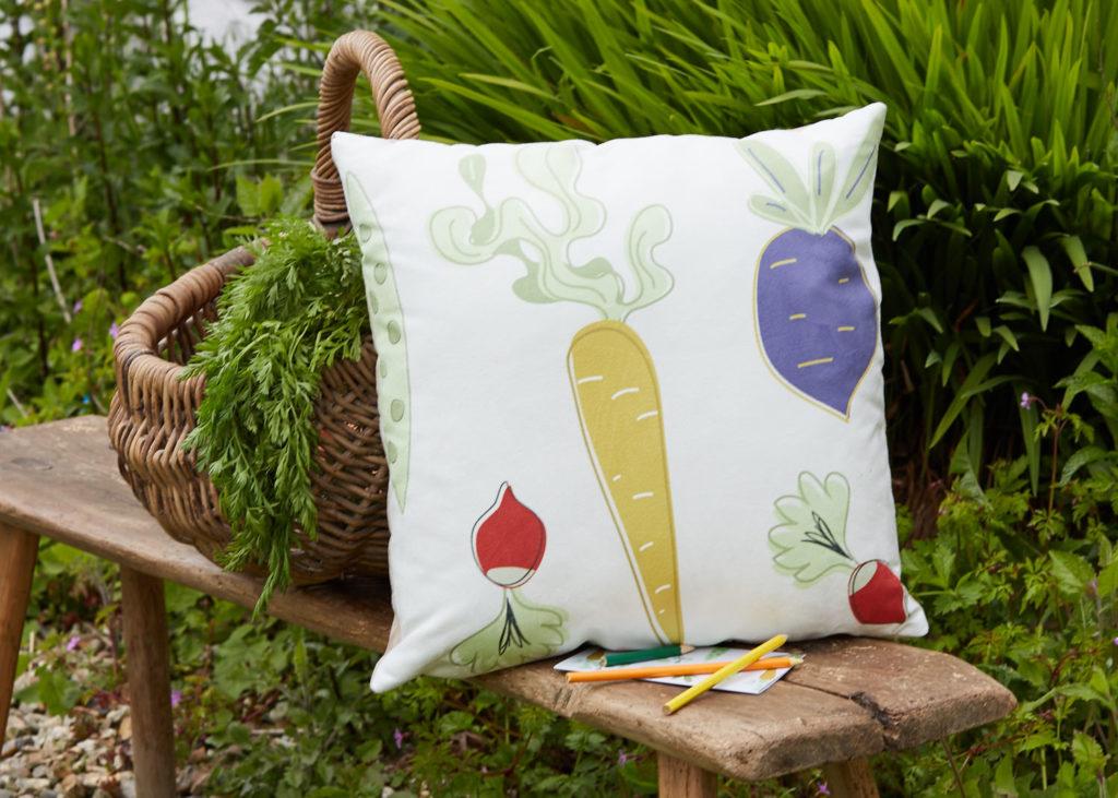 allotment cushion, Skantlyn, Cornish designer, Cornish illustrator, Cornish art, Cornwall designer,