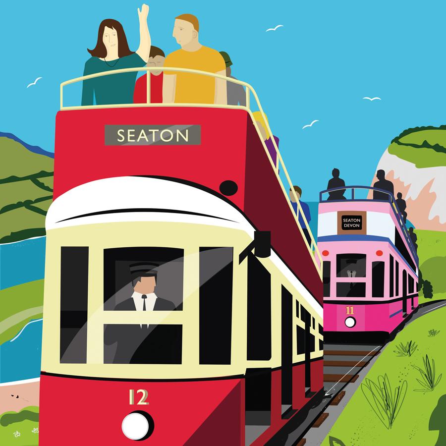 tram illustration, Skantlyn, Cornish designer, Cornish illustrator, Cornish art, Cornwall designer,