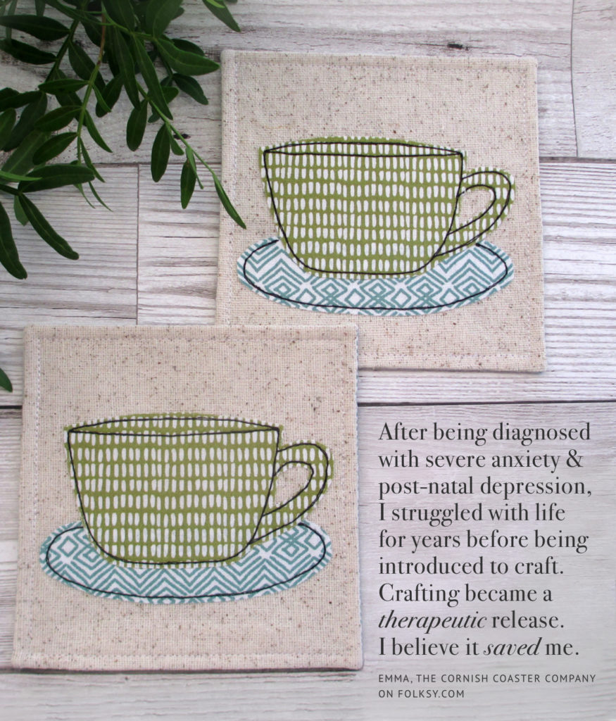 craft as therapy, embroidered tea cup coasters, cornish coaster company,