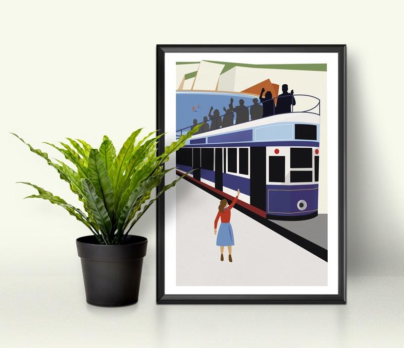 devon tram print, devon tramway illustration, Skantlyn, Cornish designer, Cornish illustrator, Cornish art, Cornwall designer,