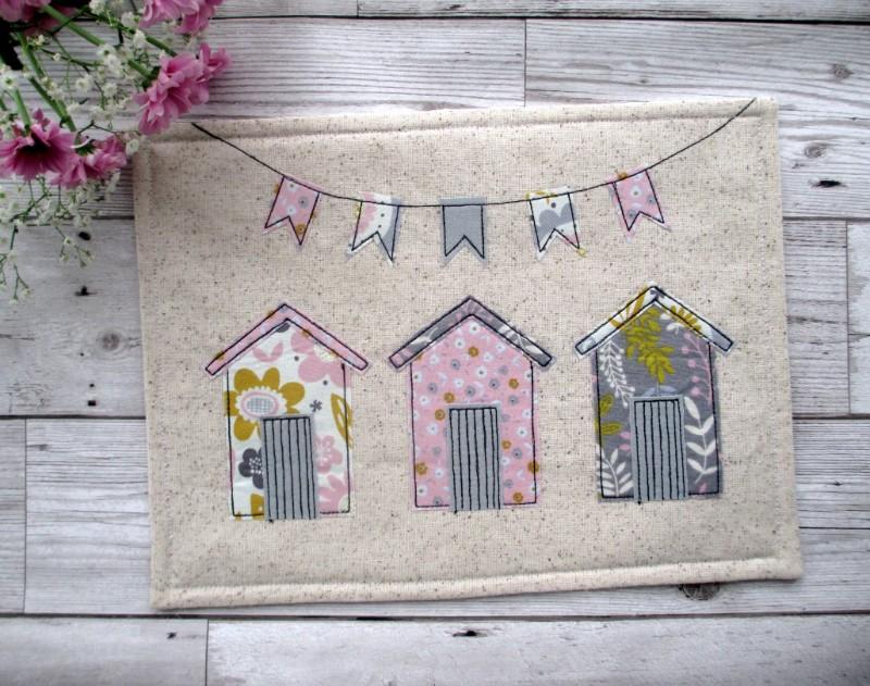 beach hut place mat, beach hut coasters, beach hut gifts, Cornish Coaster Company, handmade coasters, textile coasters, sausage dog coasters, Cornish gifts, Cornish art, Cornish maker,