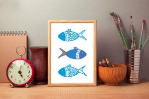 fish print, Skantlyn, Cornish designer, Cornish illustrator, Cornish art, Cornwall designer, fish print, fish illustration,