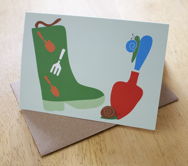gardeners birthday card, snail card, wellies card, Skantlyn, Cornish designer, Cornish illustrator, Cornish art, Cornwall designer,
