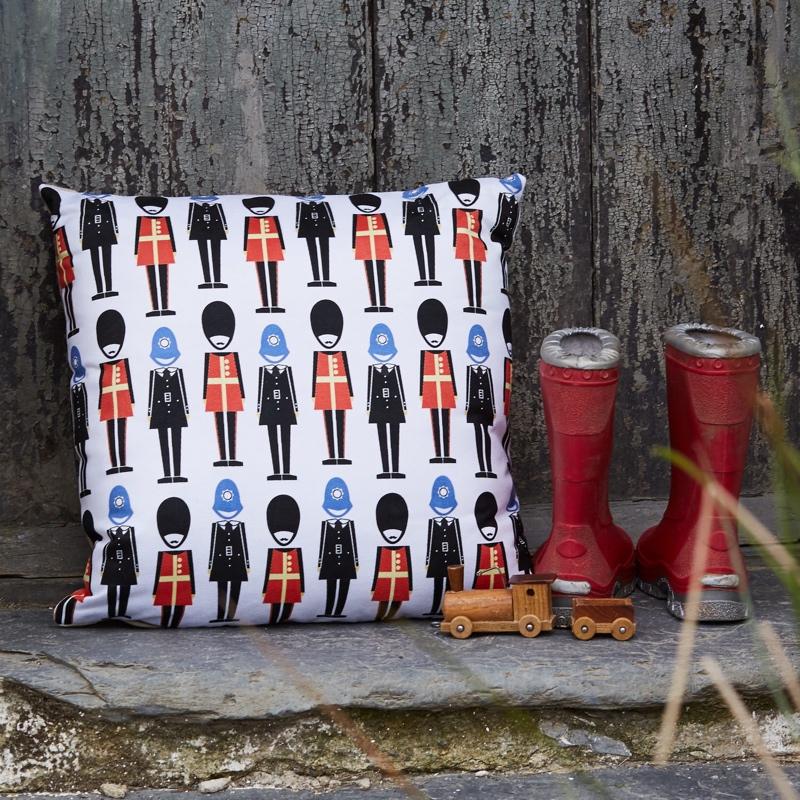 guardsman cushion, London cushion, Skantlyn, Cornish designer, Cornish illustrator, Cornish art, Cornwall designer,