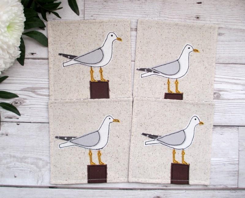 seagull coasters, embroidered coasters, cornish coaster company,