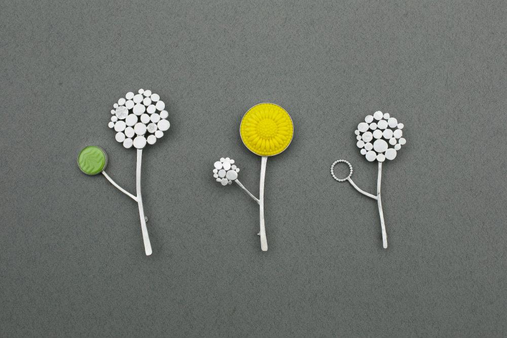 allium brooch, allium pins, Charlotte Whitmore Jewellery Designer, Charlotte Whitmore Jewellery, Charlotte Whitmore,
