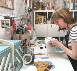 Shirley Rainbow, embroidery artist, embroidery hoop art, textile art, crochet art,