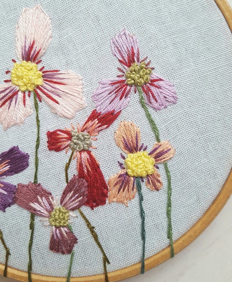 LouStitches, Summer Flowers Embroidery Art, Embroidery Hoop Art, Louise Newton,