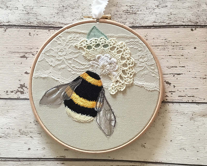 bee embroidery hoop art, embroidery hoop art, hoop art ,