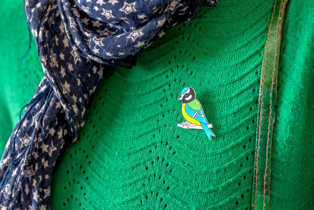 bluetit badge, bird badge, seaside decorations, seaside gifts, coastal decor, beach hut decorations, puffin cove, carolyn graham, Cromer Norfolk,