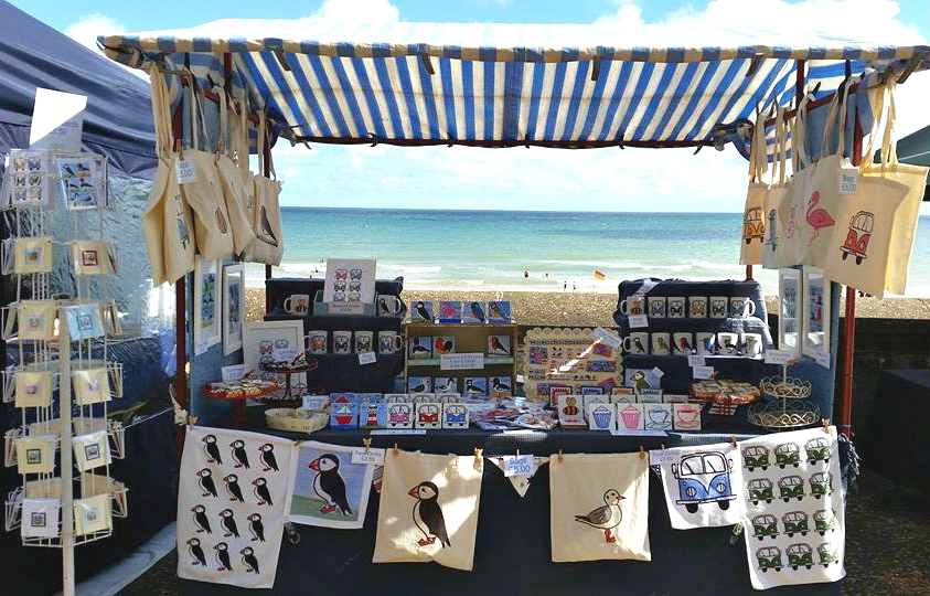 Cromer Craft Fair, seaside decorations, seaside gifts, coastal decor, beach hut decorations, puffin cove, carolyn graham, seaside stationery, coastal stationery, coastal gifts,