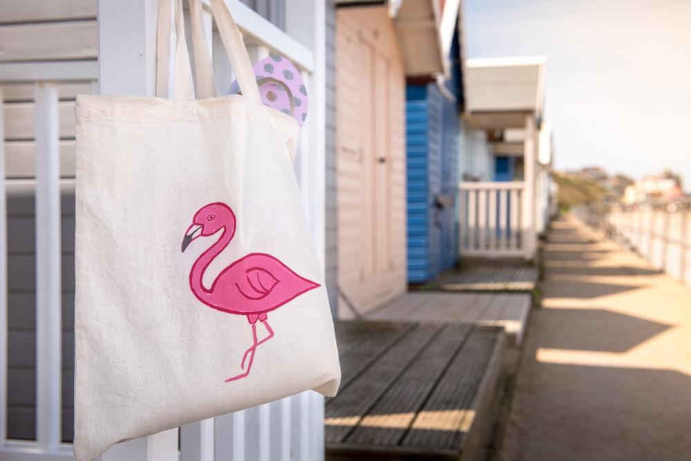 flamingo tote bag, flamingo bag, flamingo tote, puffin cove,