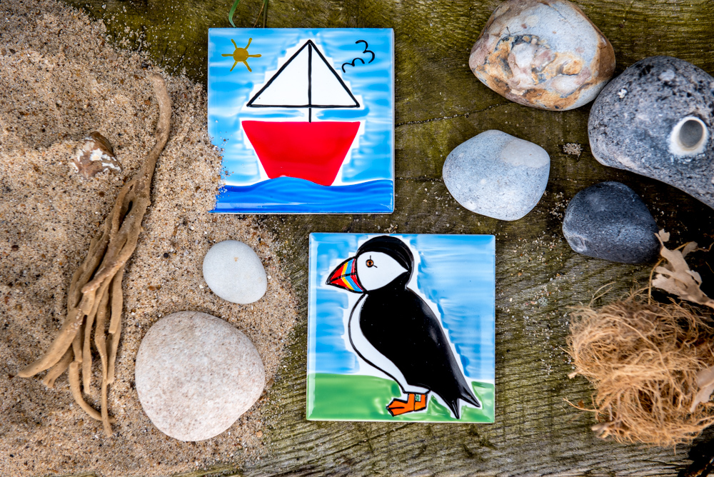 seaside decorations, seaside gifts, coastal decor, beach hut decorations, puffin cove, carolyn graham, seaside stationery, coastal stationery, coastal gifts, puffin gifts, puffin magnets,