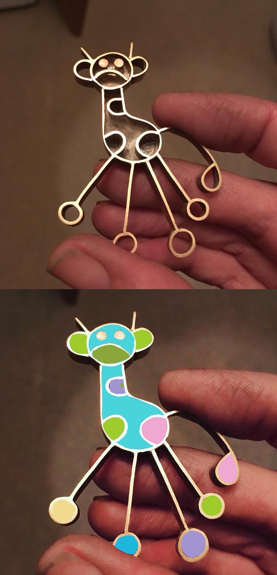resin jewellery, sarah hoare, bird and monkey, UK jewellery, jewellery from children's drawings,